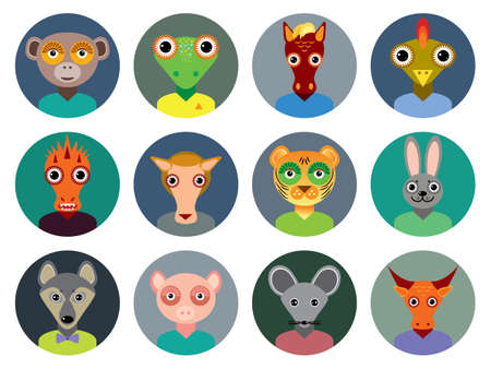 Set of animals faces circle icons in Trendy Flat Style.  Vector