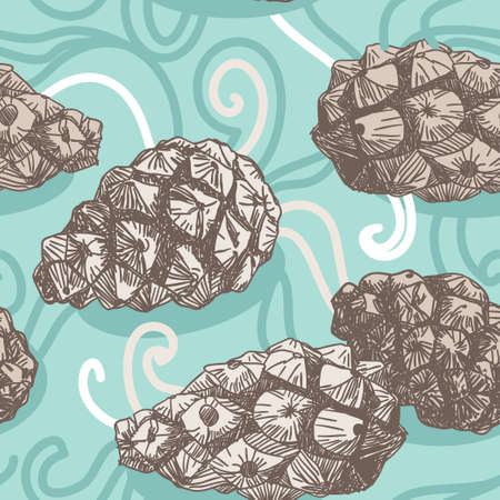 seamless pattern with Pine cones and frosty patterns.  Vector