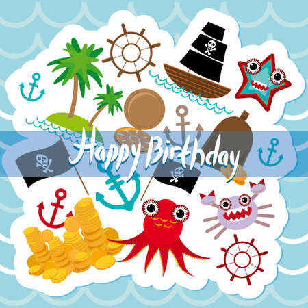 Happy Birthday Card pirate. Vector