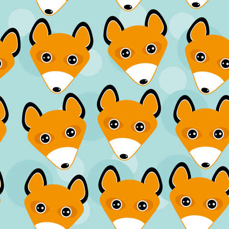 Fox Seamless pattern with funny cute animal face on a blue background.  Vector