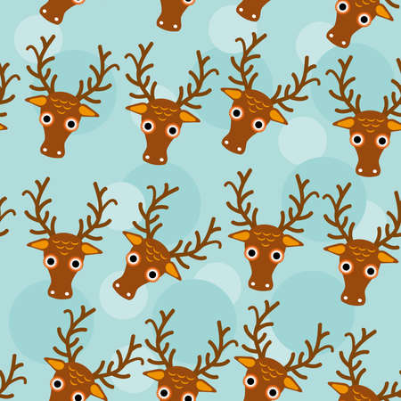 Deer Seamless pattern with funny cute animal face on a blue background.  Vector