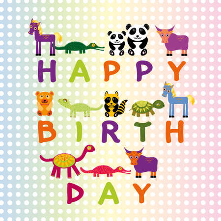 Happy birthday card on pastel color background Funny Animals.  Vector