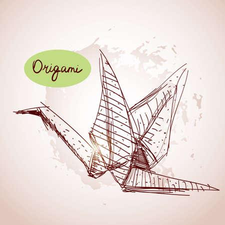 Origami paper cranes sketch.  Vector