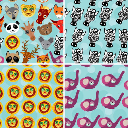 Set 4 Seamless pattern with funny cute animal face on a blue background. Vector