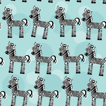Zebra Seamless pattern with funny cute animal on a blue background. Vector