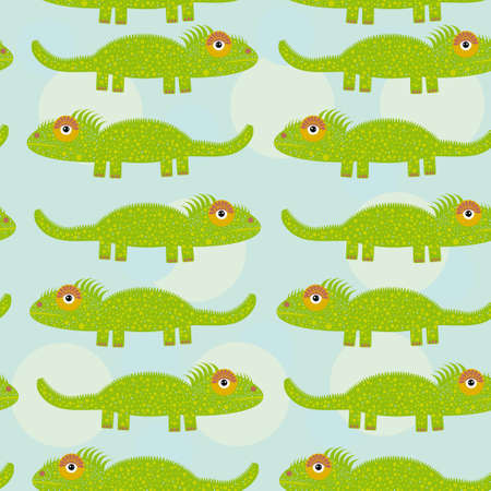Funny green iguana Seamless pattern with cute animal on a blue background.  Vector