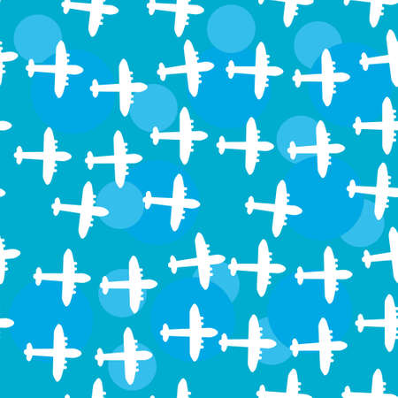 Seamless white pattern with silhouettes of the plane. Blue sky background.  Vector