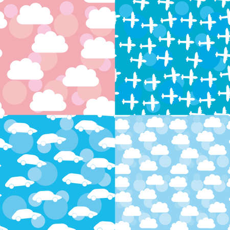 Seamless pattern set sunset, sunrise, sky, clouds white silhouette of plane and car. Vector