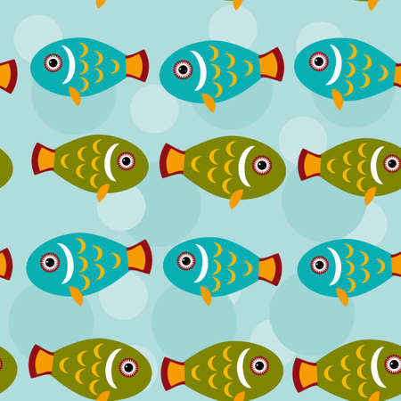 fish animal: Seamless pattern with funny cute fish animal on a blue background.
