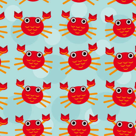 Red crayfish Seamless pattern with funny cute animal on a blue background. Vector