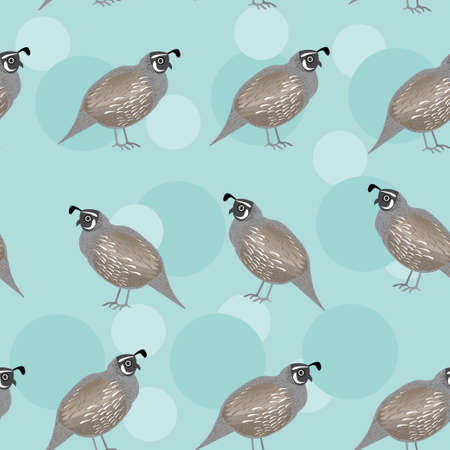 Seamless pattern with funny cute quail bird on a blue background.