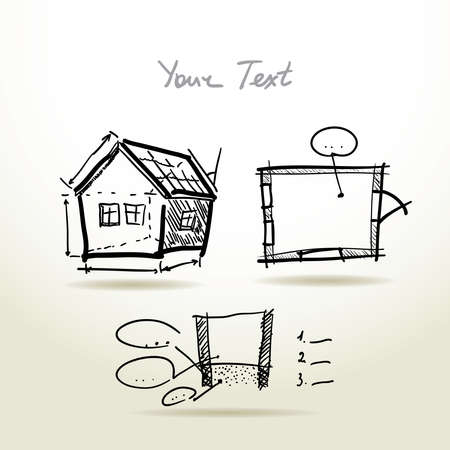 plan maison: Main projet d'esquisse de plan de la Maison �tabli pour votre conception et pr�sentations.