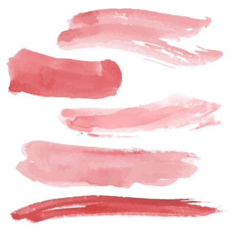 Red brush strokes set on white background.   イラスト・ベクター素材
