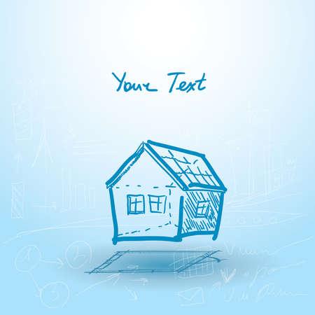 plan maison: Maison, plan de maison sur un fond bleu. Illustration