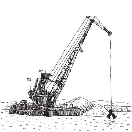 はしけ: 巨大クレーン船、海洋の浚渫の掘削の海の底の砂を掘る工業の船。  イラスト・ベクター素材