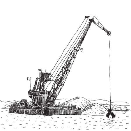 Huge crane barge Industrial ship that digs sand, marine dredging digging sea bottom.  Vector