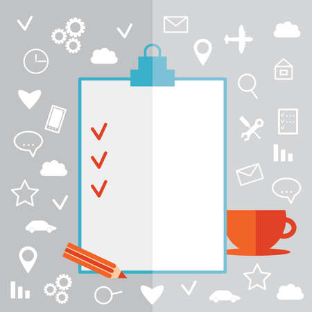 online survey: Flat design modern illustration poster Clipboard icon set pencil cup