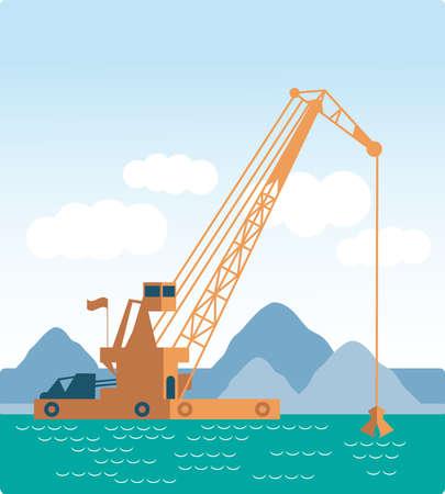 はしけ: 平らな巨大クレーン船工業出荷を掘る砂海洋浚渫海の底を掘る