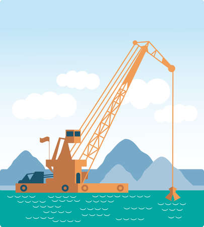 flat Huge crane barge Industrial ship that digs sand marine dredging digging sea bottom