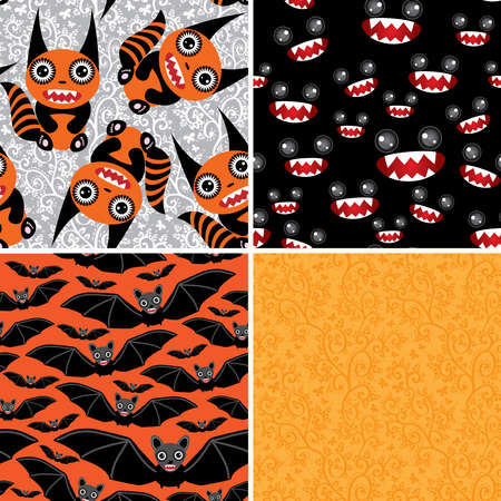 Happy Halloween set of four seamless patterns decoration.  Vector