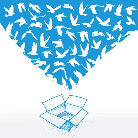 Doodle box, Sketch Flying dove white pigeon for peace concept and wedding design.  Vector