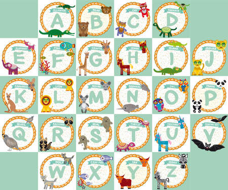alphabet kids: alphabet for kids from A to Z. Set of funny cartoon animals character. zoo.