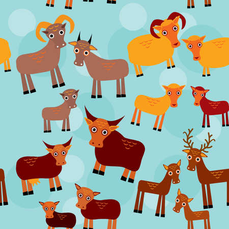 Set of funny animals with cubs Goats sheep cows deer seamless pattern on a blue background. vector Vector