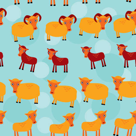 ewe: Ram, ewe and lamb. Set of funny animals with cubs seamless pattern on a blue background.