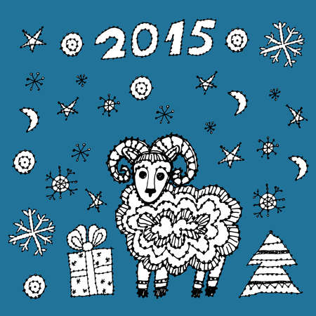 set new year symbol 2015 sheep, spruce, snowflakes on a blue background. black contour sketch Vector