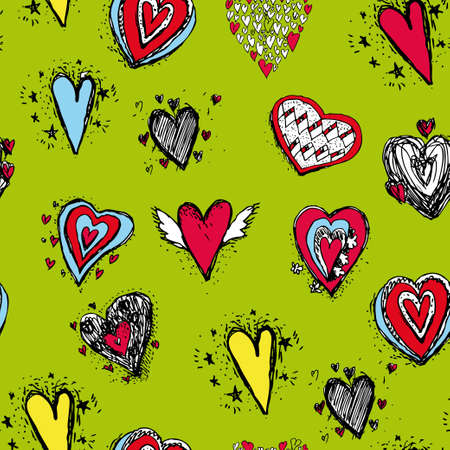 green and red: Set of funny heart with wings sketch, doodle. Seamless pattern on a green background.