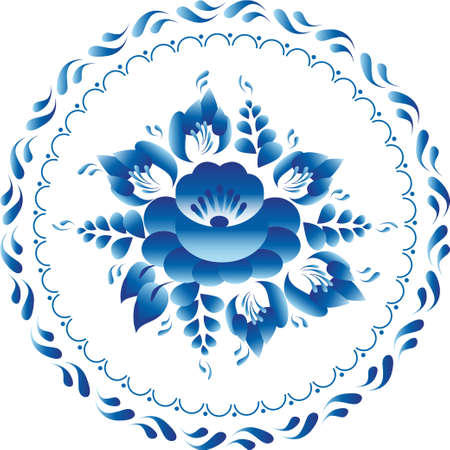 White and blue ornament flowers traditional russian style Gzhel  circle