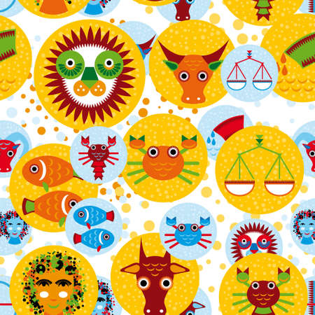 Funny seamless pattern with zodiac sign  icon set horoscope Vector