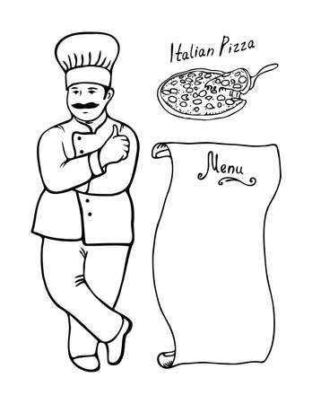 Cook Italian Pizza Menu black contour on a white background. Vector