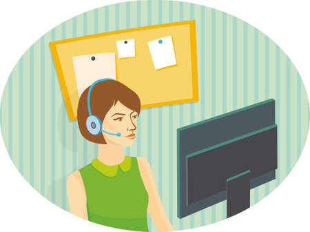 girl operator in headphones looking at the monitor. Vector