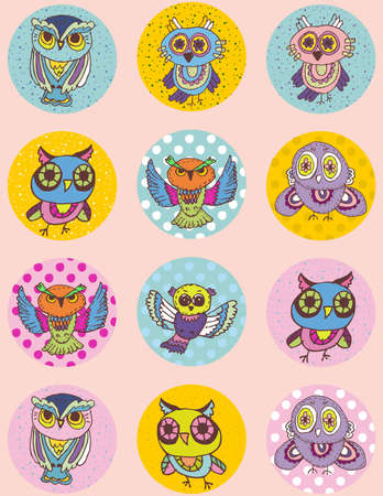 Set of funny owl sketch, doodle. Seamless pattern on a pink background. Vector