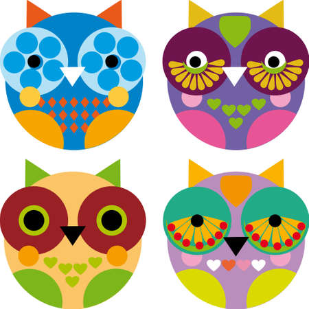 Four little funny owl on white background Vector