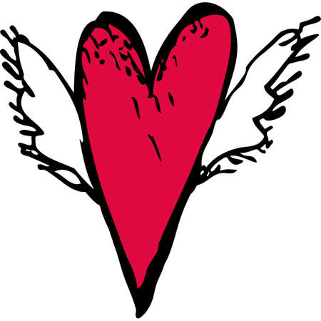 Red heart with white wings. sketch, doodle. Vector illustration Vector