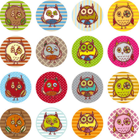 Set of funny owl sketch, doodle. Vector