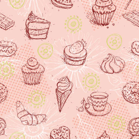 Funny seamless pattern with  ice cream coffee cake croissant. Vector illustration Vector