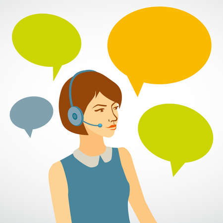 woman working in a call center with speech bubbles girl of customer service \ron a white background vector Vectores