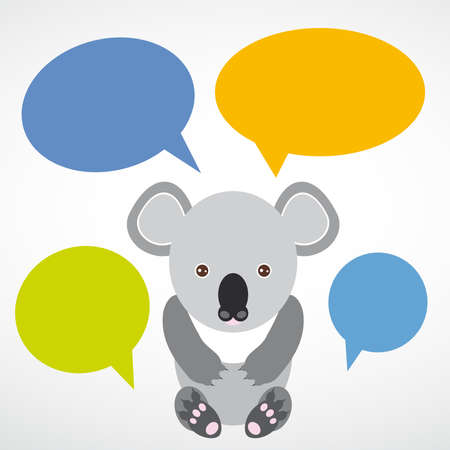 banner Funny koala with colored speech bubbles on white background.  Vector