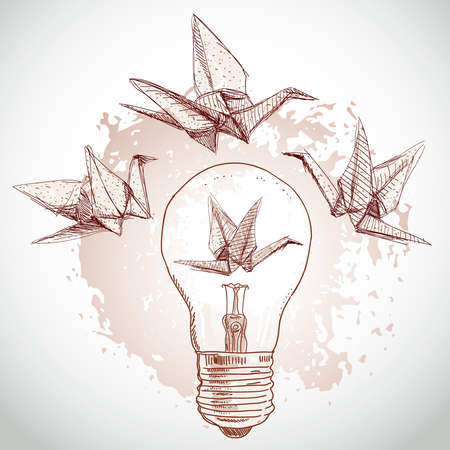 Origami paper cranes and light sketch. line on beige background.Grunge texture. Vector illustration