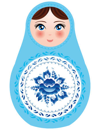 Russian nesting dolls on a white background with blue flowers.