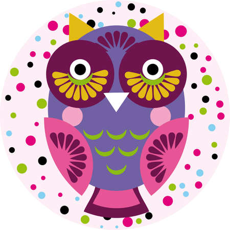 Owl on a pink background in colored polka dots. Vector illustration Vector