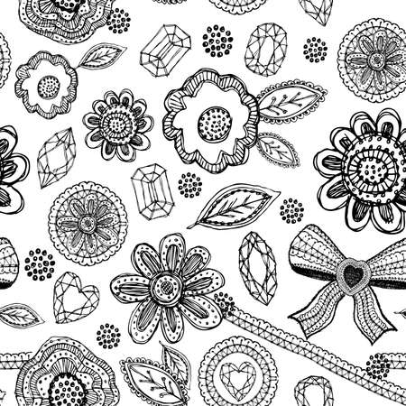 Seamless pattern with lace, diamonds, flowers, leaves doodle sketch Vector