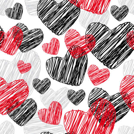 Funny seamless pattern with hearts Vector illustration