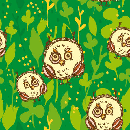 Seamless pattern with funny big-eyed owl on a green background. Vector illustration Vector