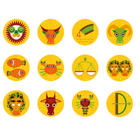 Funny orange zodiac sign icon set astrological, illustration vector Vector
