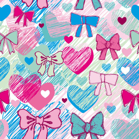 Seamless pattern with hearts and bows. pink, blue Vector