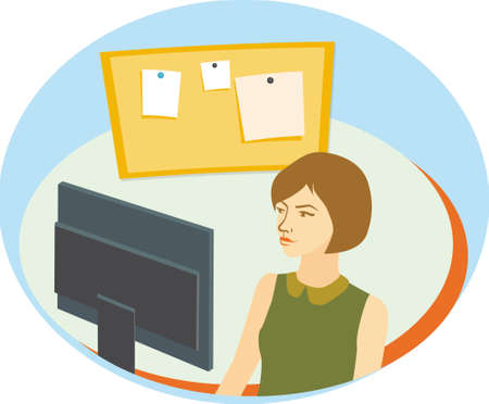 Pretty girl with short brown hair in front of computer monitor. flat Vector